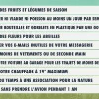 Les 10 gestes de L'émission pour la Terre – dans le cadre de son travail